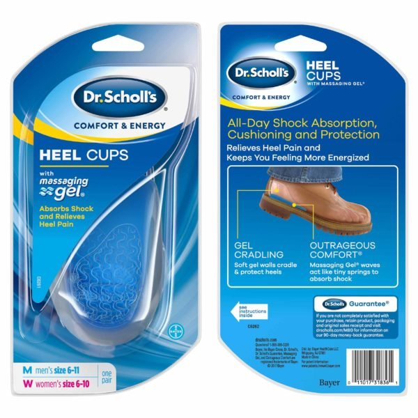 Image of Dr. Scholl's Comfort &  Energy, Heel Cups with Massaging Gel, Front & Back in package