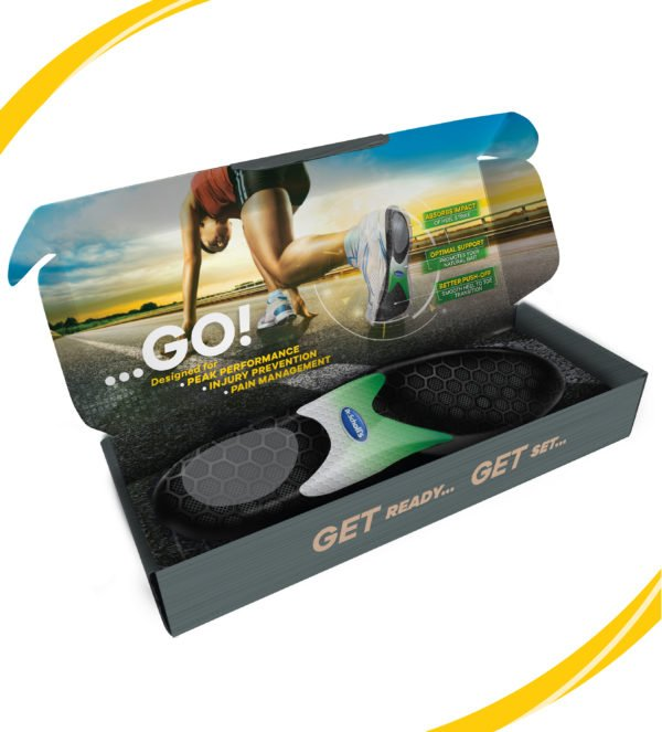 image of running insoles inside box