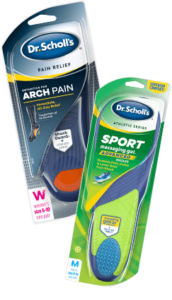 Image of Dr. Scholl's arch pain insoles and Sport inserts for runners knee