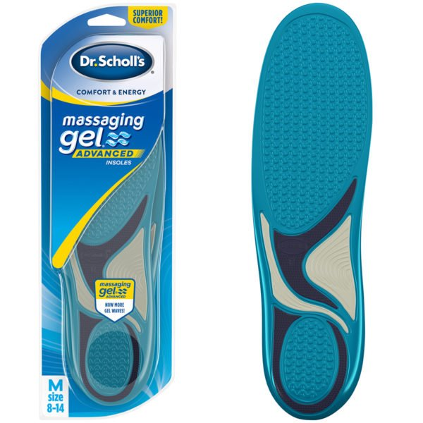 Image of Dr. Scholl's Massaging Gel  Advanced Insoles - Comfort & Energy in package and out.