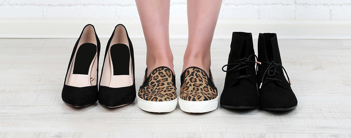 image of woman and fashion sneakers