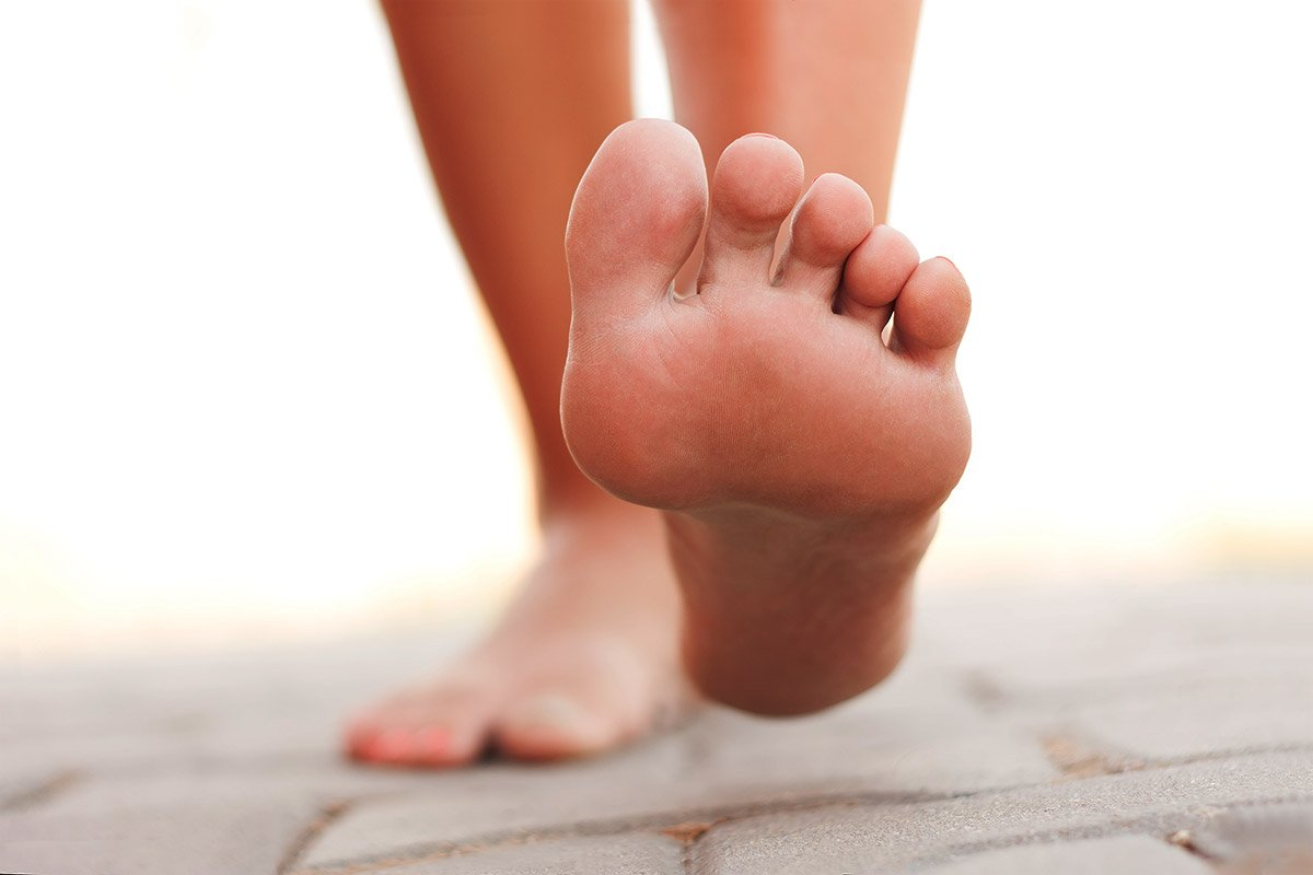 image of bottom of foot taking a step